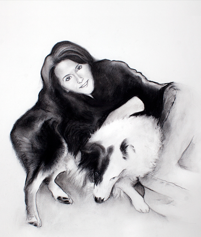 Susan and Mick (dog) charcoal drawing by Michael Daly Artist