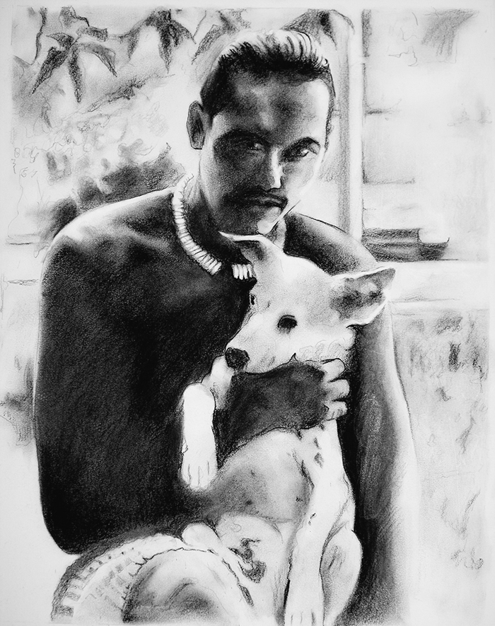 Ben and his Dog-Charcoal drawing by Michael Daly Artist