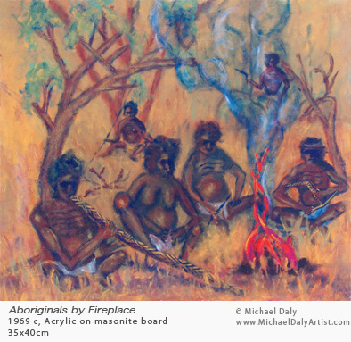 Art: Aboriginals by fireplace